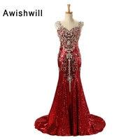 Custom Luxury Red Long Sequin Dress Robe de Soiree Femme V neck Crystal Beadings Mermaid Long Party Gowns Dubai Evening Dresses