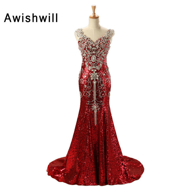 Robe paillette rouge femme