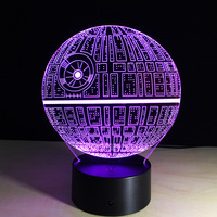 Star Wars Death Star 3D LED Night Light Touch Switch Table Lamp USB 7 Color Changing