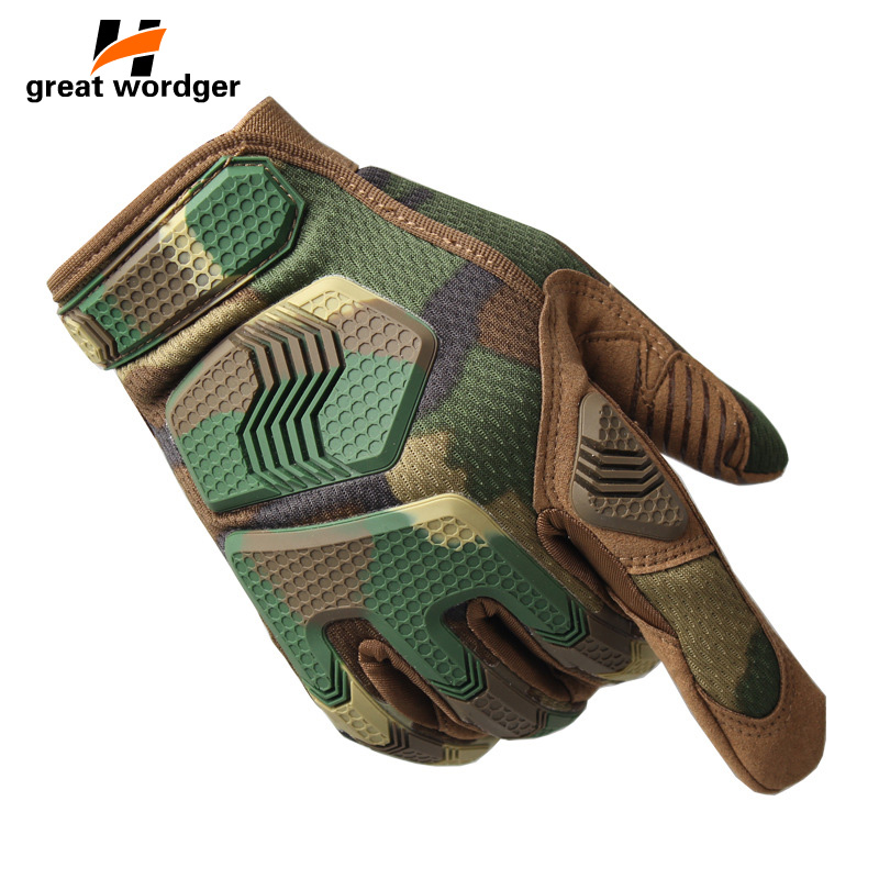 Tactical Gloves Military Army Paintball Shooting Airsoft Combat Bicycle Rubber Protective Anti-Skid Full Finger Hiking Glove Men