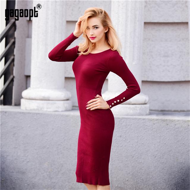 Gagaopt Autumn Thick Knitted Winter Women Dress Black Office Dress Winter Knee Length Dress Causal Party Dresses Vestidos Robes