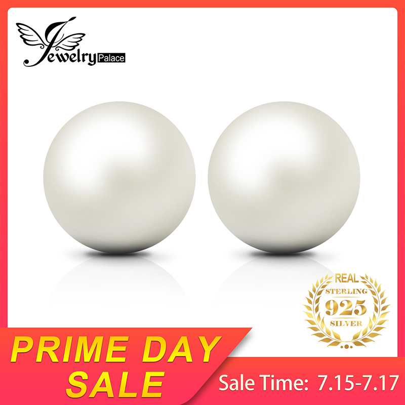 JewelryPalace 925 Sterling Silver 6.5mm Freshwater Cultured Pearl Button Ball Stud Earrings For Women As Best Gifts Jewerly(China)