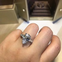 Ladies Jewelry S925 Silver Ring White Dripping Ring Wedding Jewelry Party Valentine's Day Gift