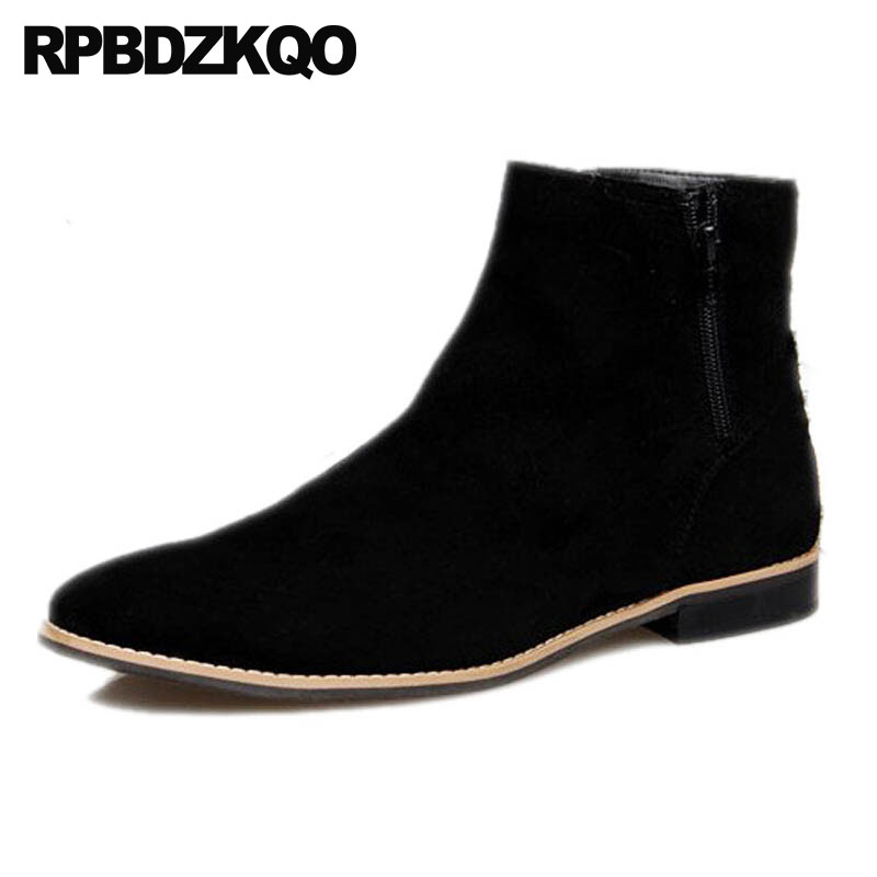 High Top Mens Winter Boots Warm Men Short Fall Suede Flat Shoes Black Autumn Booties Ankle Zipper 2018 Fur Lined Pointed Toe faux fur lined flat ankle boots