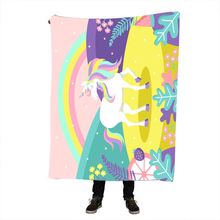 Unicorn Rainbow Blanket Believe Miracles Cartoon Plush Throw on Sofa Bed for Kids Bedding Sherpa