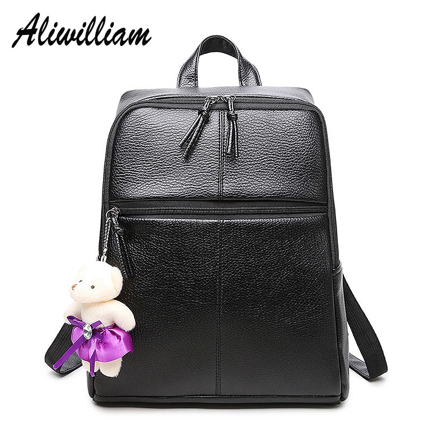 High Quality Women Backpacks PU Leather Ladies Backpack Daily Black Girls Backpack With Beer Laptop School