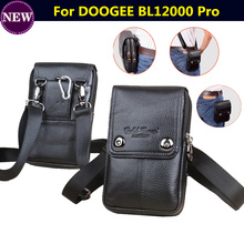 ФОТО for doogee bl12000 pro mobile phones belt bag men genuine leather double-deck vintage phone pouch multi-function fanny pack bags
