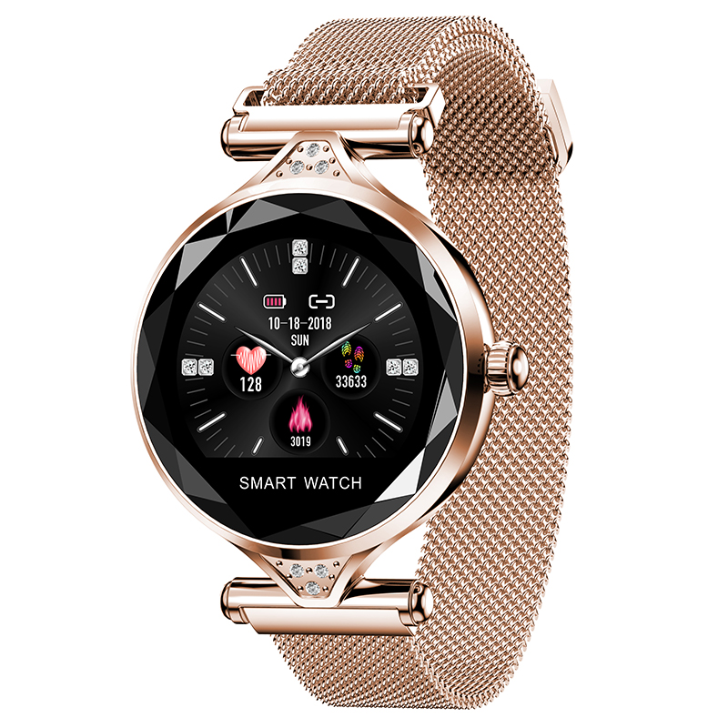 2019 Mulheres Moda Smartwatch H1S OGEDA Dispositivo Wearable Pedômetro Monitor de Freqüência Cardíaca Do Bluetooth Para Android/IOS Inteligente Pulseira