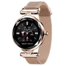 2019 OGEDA H1S kobiety moda Smartwatch urządzenie do noszenia na ciele Bluetooth krokomierz z pomiarem akcji serca Monitor dla androida/IOS inteligentna bransoletka