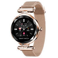2019 OGEDA H1S reloj inteligente de moda para mujer Dispositivo portátil Bluetooth podómetro Monitor de ritmo cardíaco para Android/IOS pulsera inteligente