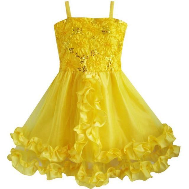 Flower Girl Dress Yellow Shinning Sequins Wedding Party Pageant Kids 2018 Summer Princess Dresses Kids Clothes Size 4-10