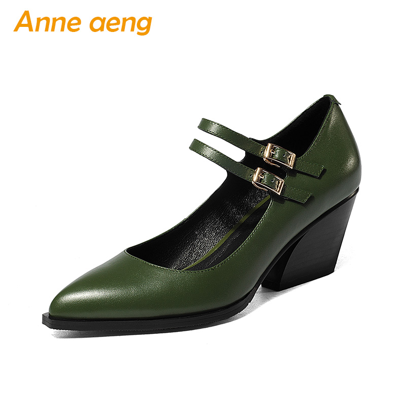 New Spring/Autumn Genuine Leather Women Pumps High Heels Cow Leather Upper Pointed Toe Sexy Ladies Women Shoes Green Mary Janes цена