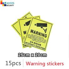 #15pcs# Self-stick security warning sticker English language cctv IP camera surveillance project mate. GANVIS cctv accessories