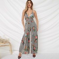 Rompers Womens Jumpsuit Long Pants Split Wide Leg Sexy Deep V Neck Sleeveless Backless Floral Striped Beach Boho Summer Playsuit