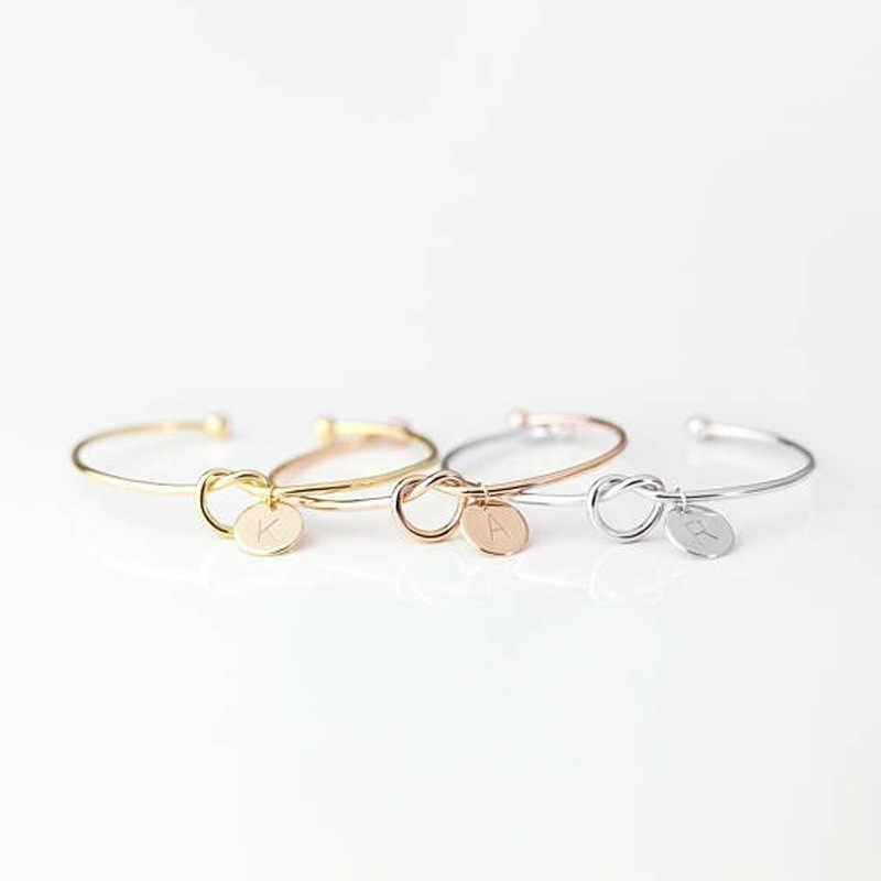 Joyería femenina de moda pulseras con nombre y letras de aleación inicial para mujeres niñas oro rosa/plata brazalete con lazo y encanto Envío Directo