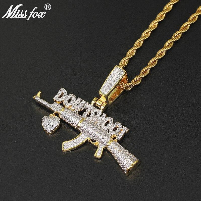 Missfox Don't Shoot Love Gun forme pendentif collier hommes créatif or argent à la mode cuivre bijoux Hip Hop à la mode Top qualité