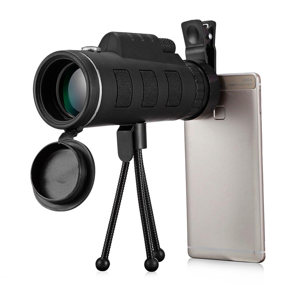 40X60 BAK4 nocturno telescopio Monocular HD Visión Prism alcance caza al aire libre que acampa alcances con Clip de teléfono trípode