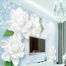 3D wallpaper fresh blue three-dimensional rose jasmine TV ba