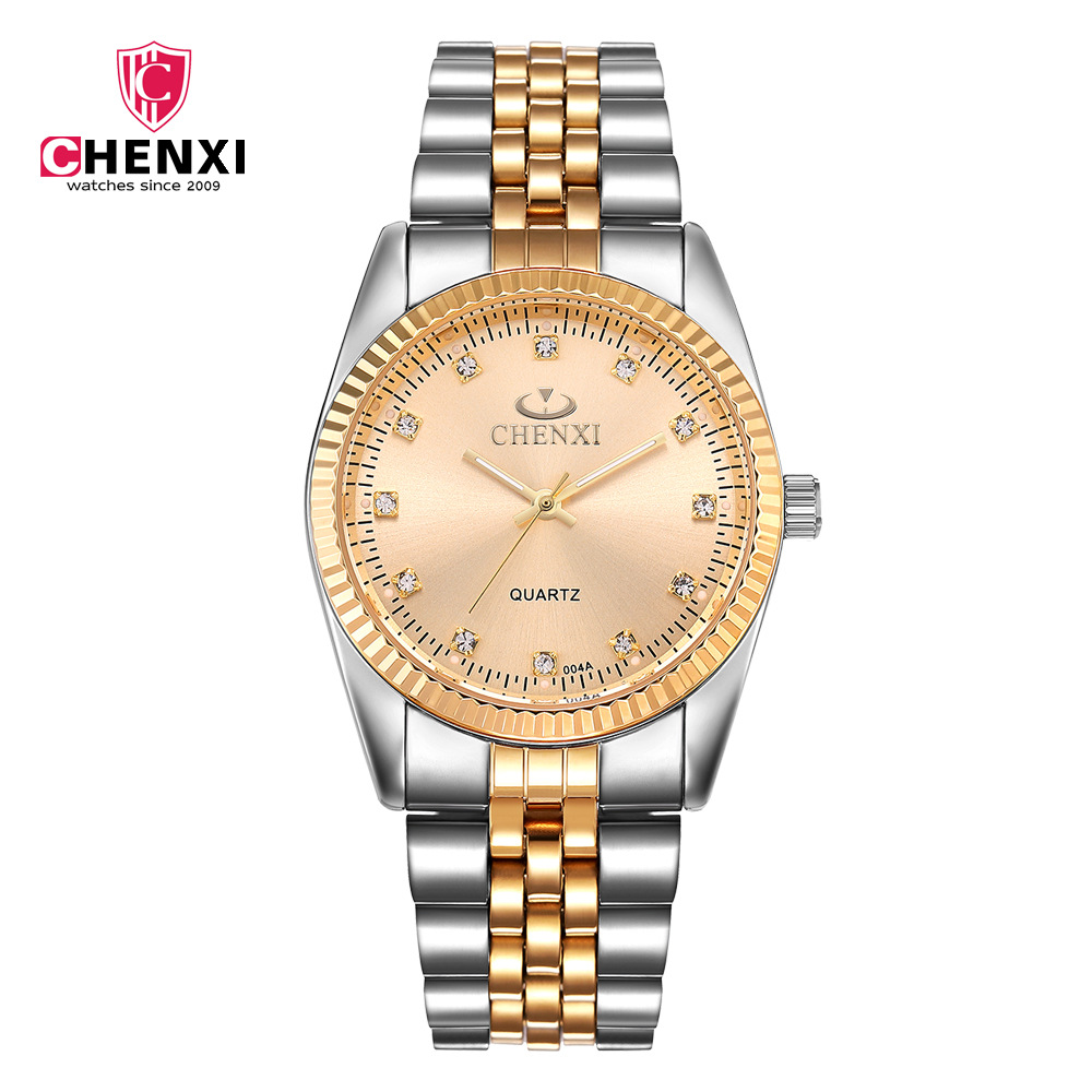 004A Fashion Chenxi Brand Between Golden Clock Gold Men Full Stainless Steel Quartz Watches Wholesale Woman Lover WristWatche