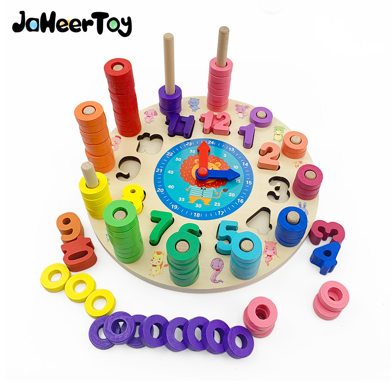 JaheerToy Math Toy For Children  Baby Learning Time Clock Model Count Color Cognition Montessori Early  Educational Toys Kids