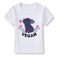 Vegan t-shirt Kids Funny Little Pig Print Kinderen T-shirt Baby Jongens Meisjes Zomer Tops O-hals Korte Mouwen T-shirt Kleding