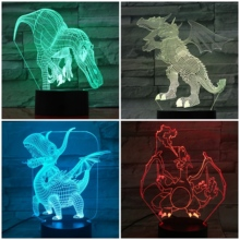 Dinosaur Table Lamp Bedroom 3D Lampara Decorative Lamp Touch Sensor Child Kids Gift Animal Nightlight Dinosaur Night Light LED quadruple 3d dinosaur night lights colorful changing simulation dinosaur lamp halloween funny tricky atmosphere table lamp