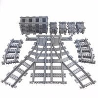 KAZI Train Track Building Bricks Plastic Rail Track For Train Straight Curved Furcal Soft Educational Toys