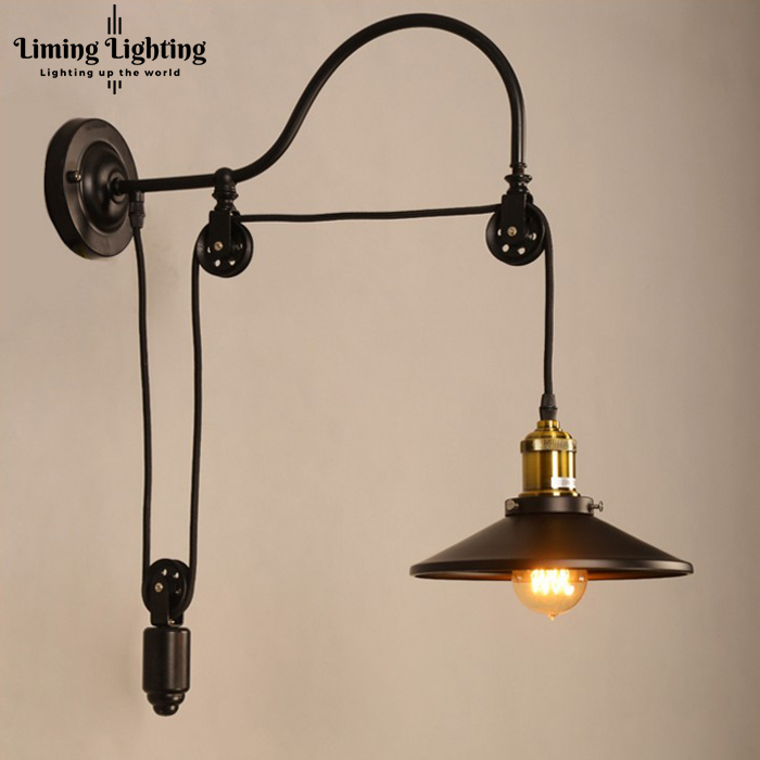RH Loft Industrial Vintage Iron LED Country Pulley Wall Lights Adjustable Wire Lamps Retractable Bar Lighting Sconce Bedroom vintage iron loft industrial american country pulley pendant lights adjustable wire lamps retractable bar lighting