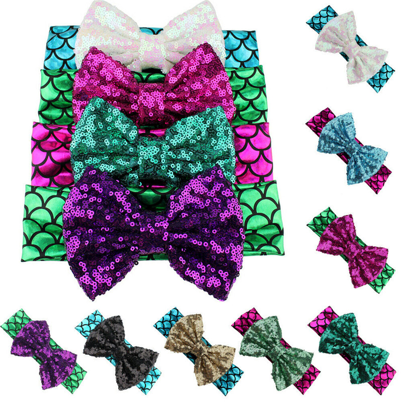 New Toddler Girls Kids Mermaid Bow Baby Headband Cute Sequin BowKnot Turban Headband Hair Band Headwrap Sweet Headdress