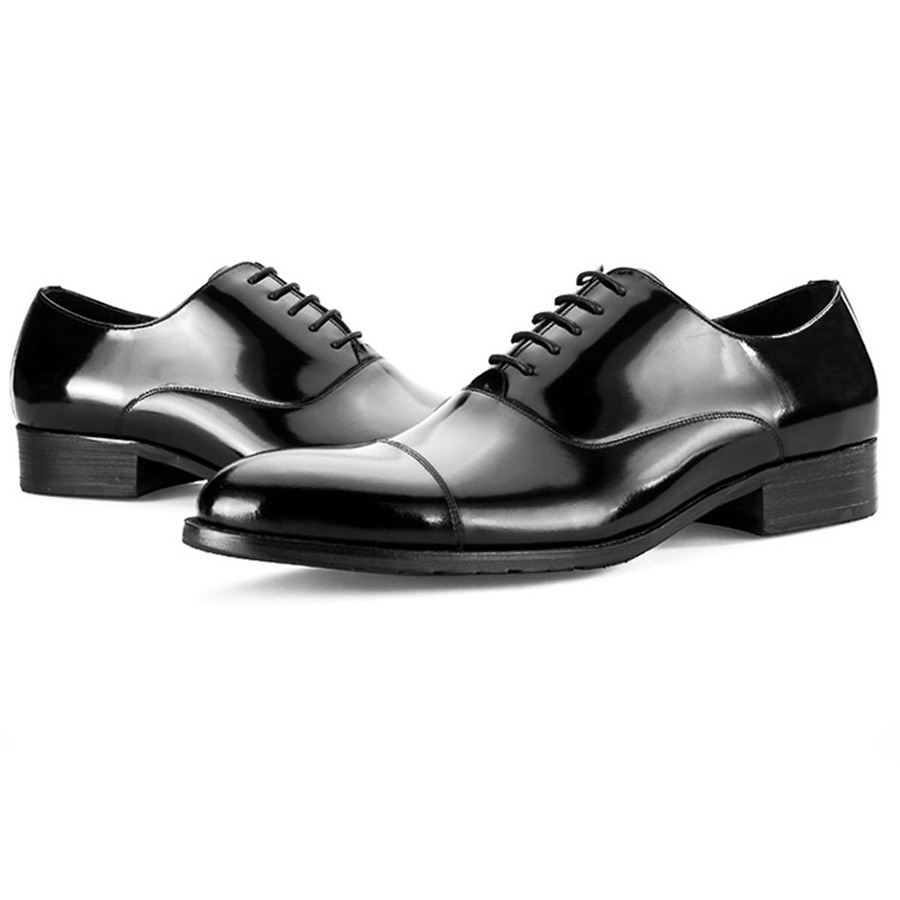 British Style Men's Shoes Round Toe Black Men's Leather Business Formal Dress Genuine Leather Shoes Men Bright Leather Shoe 10