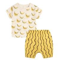 Ins heißer verkauf sommer kurzarm o-ansatz alle match reine baumwolle Kleinkind Jungen Cartoon Design Gedruckt Gelb Schöne Tops + Pants Sets