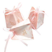 50pcs/lot Romantic wedding creative Pentagonal Pink Wedding Candy Box Chocolate Packaging Favors