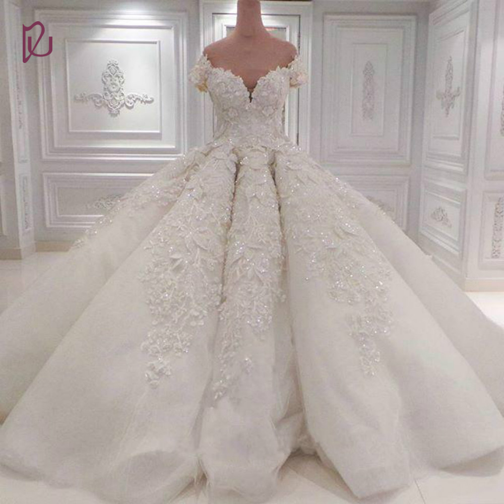 Dudress luxury 2017 wedding dresses full lace applique for Vintage beaded lace wedding dress