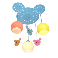 LED Creative Wooden Children's Room Pendent Lamp Wooden Cute Warm Baby Room Ceiling Lamp LED Bedroom Pendent Lamp