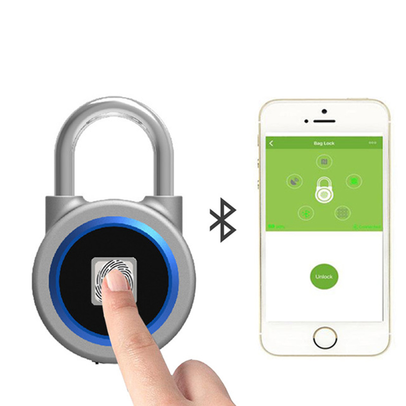 Smart padlock electronic lock warehouse door security door lock dormitory cabinet bedroom Bluetooth fingerprint padlock waterproof anti rust padlock anti theft lock with keys for dormitory cabinet drawer warehouse iron gate