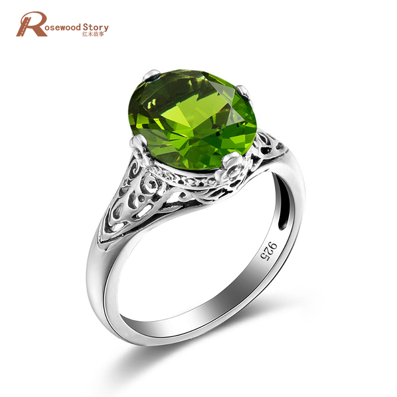 High Quality 925 Sterling Silver Jewelry Created Peridot Skull Ring Green Stone Rings for Women Vintage Accessories Wholesale