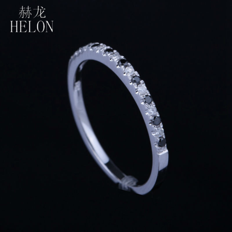все цены на HELON Solid 14K White Gold Pave Set White & Black Diamonds Engagement Wedding Band Diamonds Women's Jewelry Ring