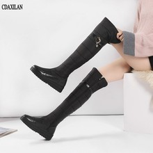 CDAXILAN new arrivals snow boots women genuine leather down over-the-knee boots leg-warming plush zip boots middle heel shoes стоимость