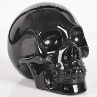 4 Inch Natural black obsidian Skull Handmade human head statue Gemstone Carving Crystal Healing Reiki ornament art collectible
