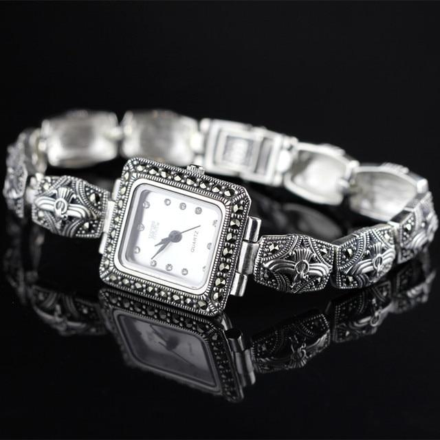 New Limited Classic Rectangle Elegant S925 Silver Thai Silver Bracelet Watches Thailand Process Rhinestone Bangle Dresswatch