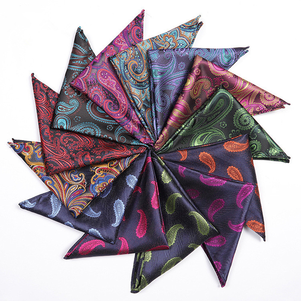 CityRaider Novalty Pattern Paisley Print Silk Handkerchiefs For Men's Cotton Pocket Square Wholesale VIP Link 25*25cm A061