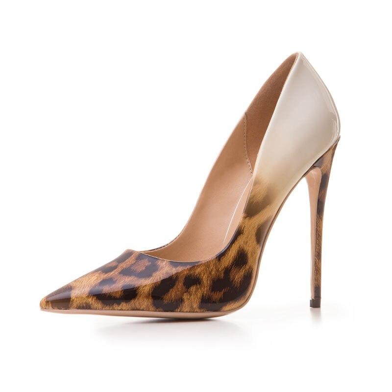Super Große auf brown Casual Leopard Ferse Größe Slip Hohe Mode Pumpt Frauen Schwarzes Schuhe grau Flach Spitz Dame Dünne TZ5qxYPwB