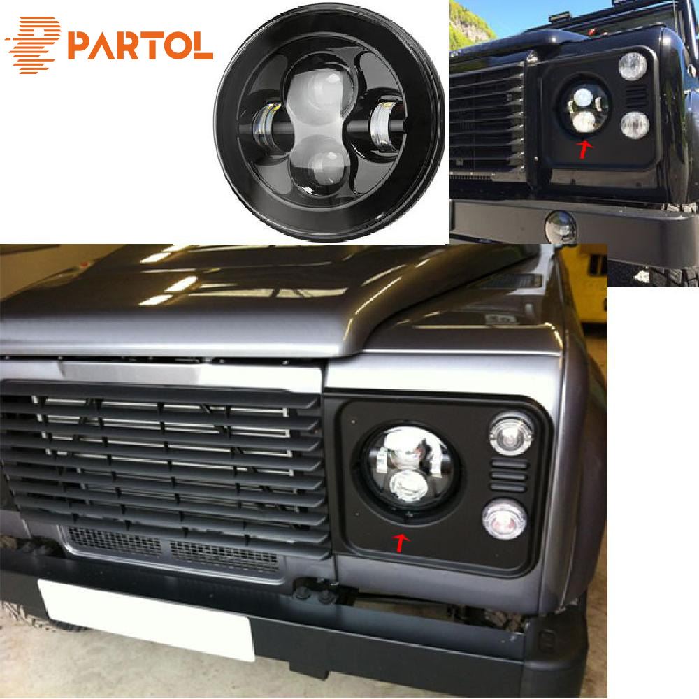 Partol 2pcs black7 Round LED Headlight DRL Daymaker Projector Headlamp Car Light Hi Lo Beam for JEEP Wrangler Land Rover Lada 2pcs new design 7inch 78w hi lo beam headlamp 7 led headlight for wrangler round 78w led headlights with drl