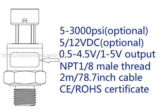 2m/78.7inch cable, Multi-Range Optional Import Ceramic Pressure Sensor Pressure Transmitter Transducer