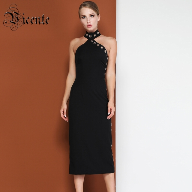 Vicente HOT Fashion Hollow Circle Design Black Long Dress Sexy Sleeveless Backless Wholesale Celebrity Party Maxi Long Dress