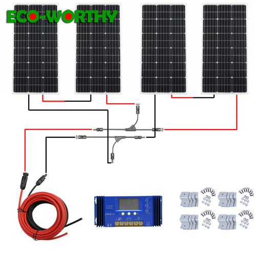 400 Вт Панель солнечной энергии: 4 шт. 100 Вт 18 в монокристаллические панели солнечной энергии с 60A контроллером заряда для 12В батареи солнечной