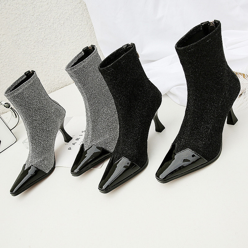 Spool High Heels Stiletto Women Boots Patchwork Dress Shoes Woman Zipper Rome Vintage Short Booties Lady Pumps Zapatos Mujer 39 купить в Москве 2019