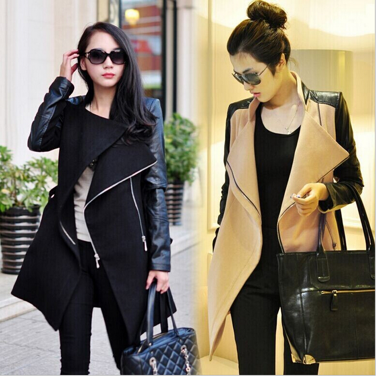 Compare Prices on Womens Long Wool Coat Pu Leather Sleeve- Online ...