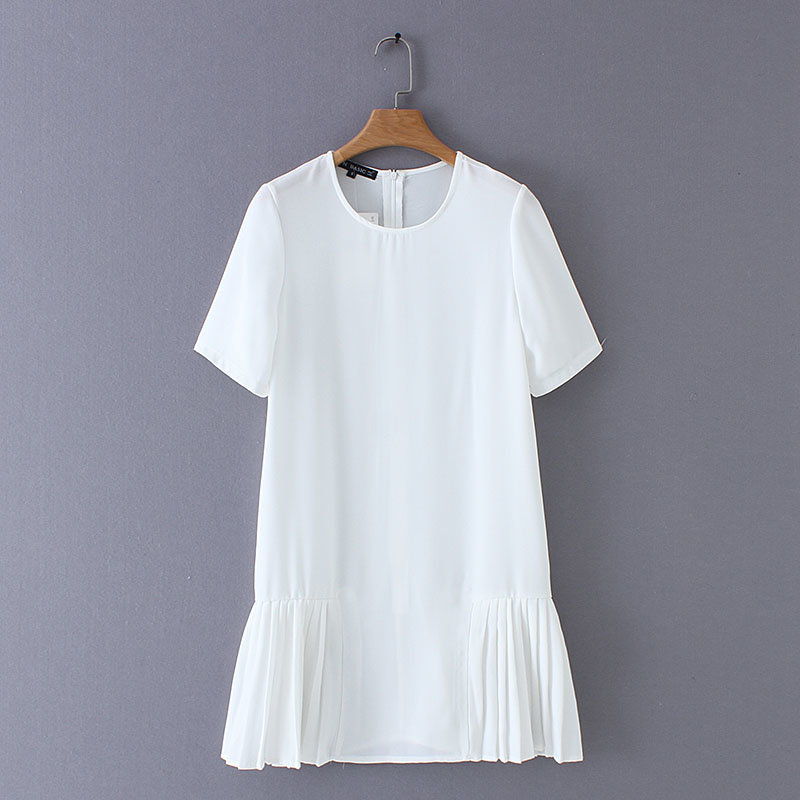 2019 New Women Fashion O Neck Solid Color Hem Pleated White Dress Ladies Chic Short Sleeve Vestidos Casual Slim Dresses DS2164