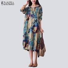 ZANZEA Vintage Women Midi Dress 2017 Casual Loose Round Collar Long Sleeve Pockets Floral Print Elegant Calf Length Robe Vestido